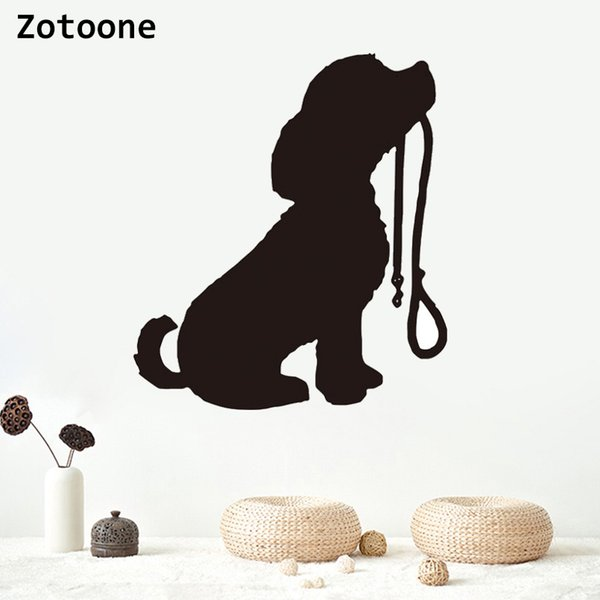 ZOTOONE Puppy With Lead Wall Sticker Living Room Viny Dog Stickers Removable Vinyl Cute Animal Wall Decals Bedroom Home Decor