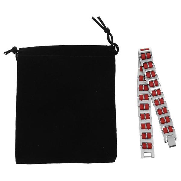 Bracelet de maillons de bracelet en caoutchouc de silice en acier inoxydable argent rouge des hommes rectangulaires polis polis