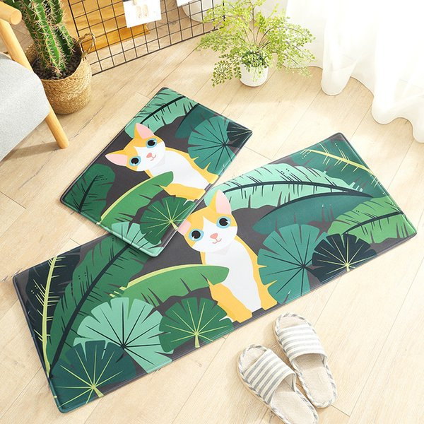 Forest Cat Door mats Coral velvet carpet Humorous Funny Entrance Indoor Floor Mat Non-slip Doormat rug
