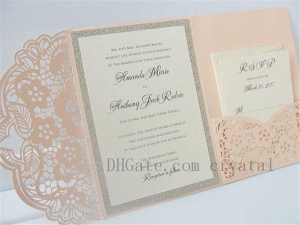 top popular Elegant Lasercut Wedding Invitation, Laser Cut Pocketfold Wedding Invitation, tri-fold Invite, Lace Wedding Invite, Free Shipping 2021