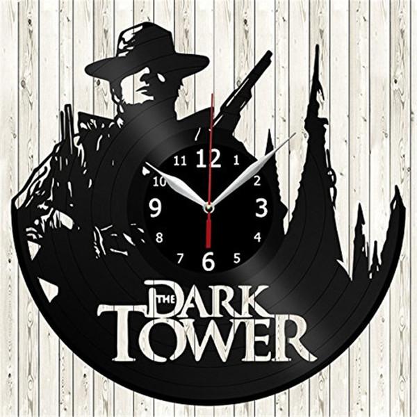 La Torre Oscura de vinilo reloj de pared simple moderna decoración del hogar artesanía regalo creativo salón decoración arte de la pared reloj de cuarzo