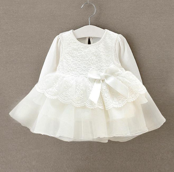 Newborn baby girl dress Infant bebe white lace baby dress wedding party gowns long sleeves girls baptism 1 year