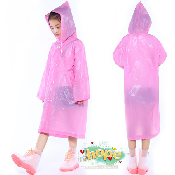 Hot sell Kids Hooded Transparent Jacket Raincoats Rain Coat Poncho Raincoat Cover Long Girl Boy Rainwear