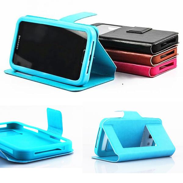 Универсальный кожаный чехол вид из окна PU кожаный чехол силиконовый чехол для 4.5 до 6.0 дюймов телефон для iPhone Samsung смартфон