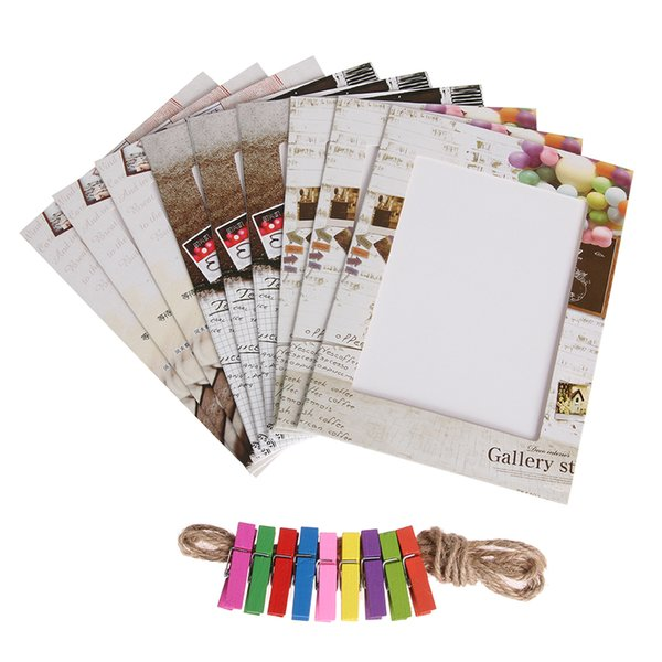 9pcs 6 inch Art Paper Photo Frame + 9 Clips + 1 Rope Creative Vintage House Family DIY Festival Wall Hanging Home Decor