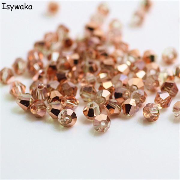Isywaka Verkauf Rot Kupfer Farbe 100 stücke 4mm Bicone Österreich Kristall Perlen Charme Glasperlen Lose Distanzscheibe Für Diy Schmuckherstellung