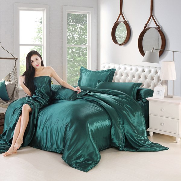 Ice silk Smooth Satin Bedding Pure color sheet pillowcase Pure color 1.8m and 2m Bedclothes Europe Skin-friendly Quilt cover