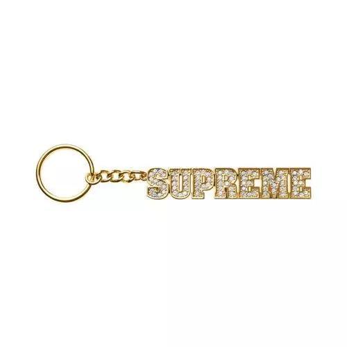 Supre Block Logo keychain 18 SS Rhinestone key ring