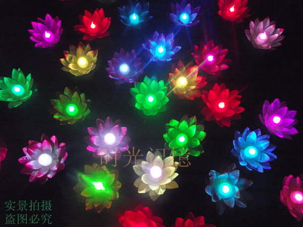 Led Artificial Lotus Flower Colorful Changed Floating Water Flower Swimming Pool Wishing Light Lamps Lanterns Party Supply Decorative