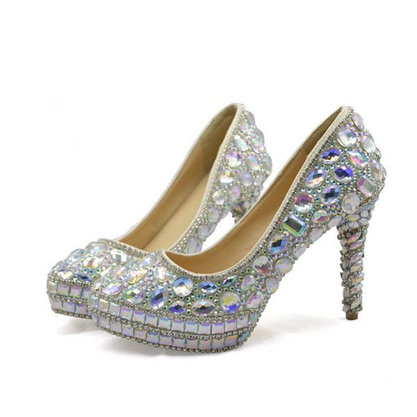Customise AB Crystal Wedding Dress Shoes Sparkling Rhinestone High Heels  Banquet Party Shoes Bride Pumps Platform Plus Size White Wedding Shoes Uk  ...