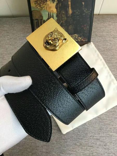 Высококачественная золотая квадратная пряжка с изображением головы тигра, дизайнерские мужские ремни, ремешок из личи, ремень из натуральной кожи с коробкой