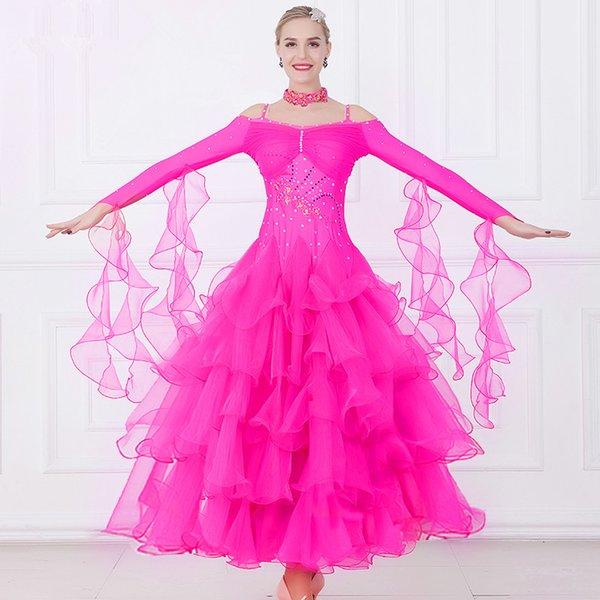 New Adult Ballroom Dance Dress Modern Waltz Standard Competition Dance Dress Red/Rose/Blue/Green/White/Black Rhinestone Embroidered Dress