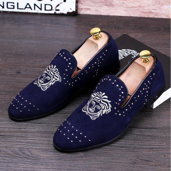 2018New konsept Moda adam slip-on ayakkabı erkekler sivri buzlu rahat loafer'lar Gelinlik erkek Flats G371