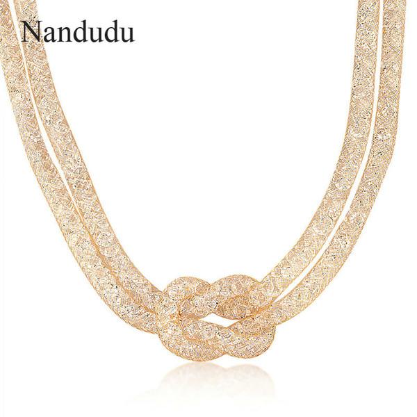 Nandudu Rose Wire Mesh Crystal Necklace Knot Choker Layered Guide Fashion Jewelry Female Gift CN36 CN37