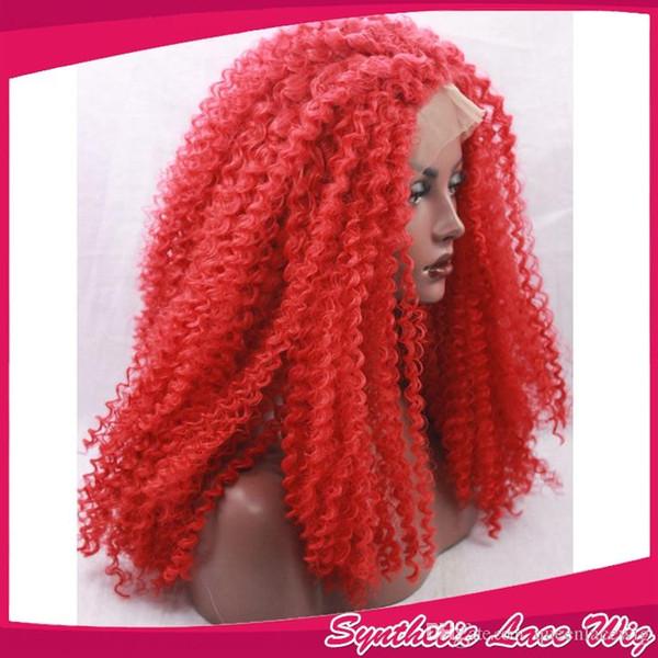 Top qualité rouge couleur longue coiffure bouclés résistant à la chaleur synthétique avant de lacet perruques crépus bouclés pour les femmes à propos de 24 pouces