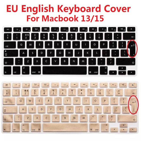 Solque Silicone EU Euro Version English Keyboard Cover For Macbook Air Pro Retina 13 15 Laptop Keyboard Skin Protector For iMac
