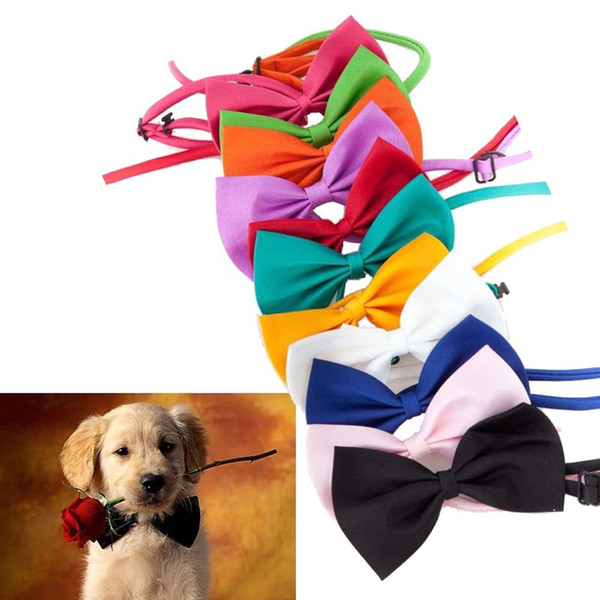 50 Pcs/Lot Dog Ties Pet Grooming Accessories Rabbit Cat Dogs Bow Tie Adjustable Bowtie Multicolor Polyester Ribbon Necktie