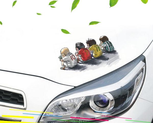 Transparent 3D painting Car Body Sticker Waterproof Cartoon Decals European Cup Football Team Stars Stickers Car Exterior Decoration