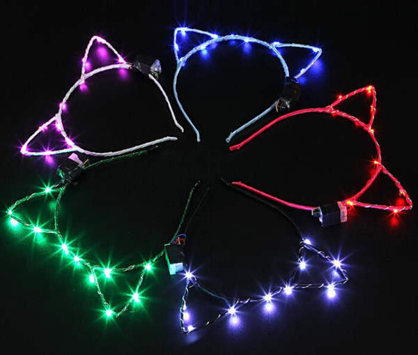 100pcs Cat Ear Design LED Light Headband For Birthday Wedding Party Masquerade Decorations Cute Hair Hoop Accessories G391