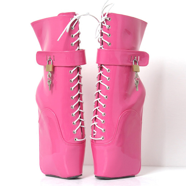 Free DHL 2018 New Women Sexy Fetish Ballet Boots Pony Hoof high heel less Wedges Ankle Boots Lace Up Buckle with Locks Platform