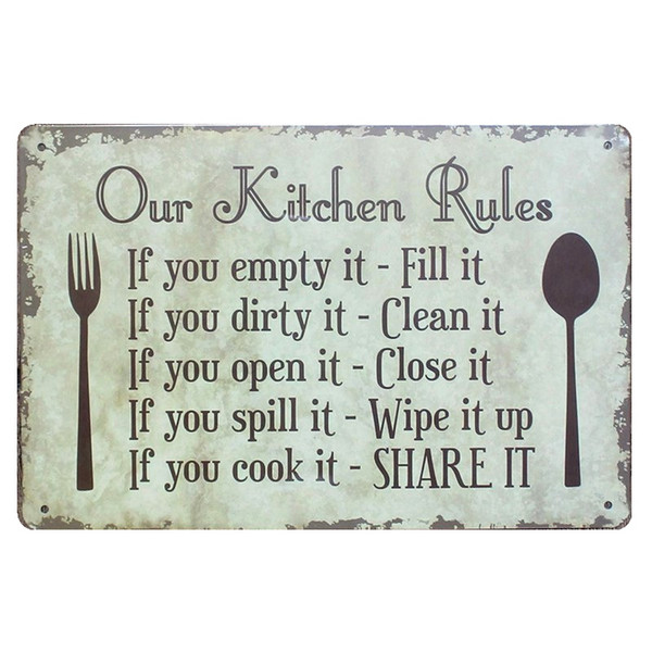 2019 OUR KITCHEN RULES Shabby Chic Metal Signs Bar Pub Restaurant Home  Decor ART Wall Stickers Vintage Metal Painting Plaque N090 From Greenliv,  ...