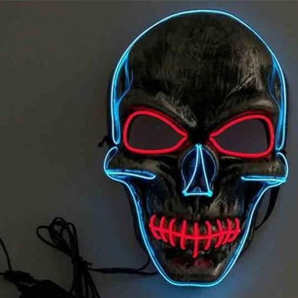 EL fio Masquerade Máscaras Cabeça Crânio Horrible LED completa Rosto Purge máscara para o Dia das Bruxas Decoração Party Supplies Prático BB 18tc