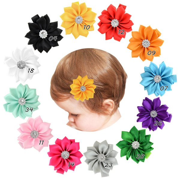 12pcs 2'' Handmade Satin Ribbon Multilayers Flower Sew With Rhinestone With Whole Wrapped Safety Hair Clips Accessory HD830