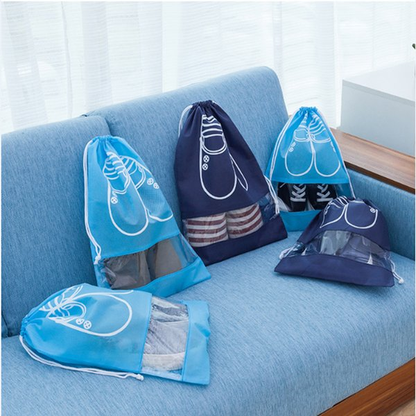Storage Bag Travel Nonwoven Fabric Shoes Rope Pulling Bundle Pocket Visible Window Pouch Anti Dust Bags Wholesale 1 1gx gg