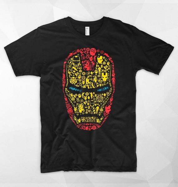 Iron Man Mask T Shirt Logo Head Tony Stark Marvel Superhero Avengers Spiderman