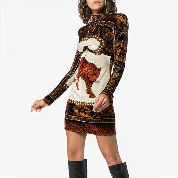 Leopard Animalier Print Dresses Women 2018 Runway Signature Velvet Dress New Fashion Turtleneck Long Sleeve Mini Dress In The Wild Leopard