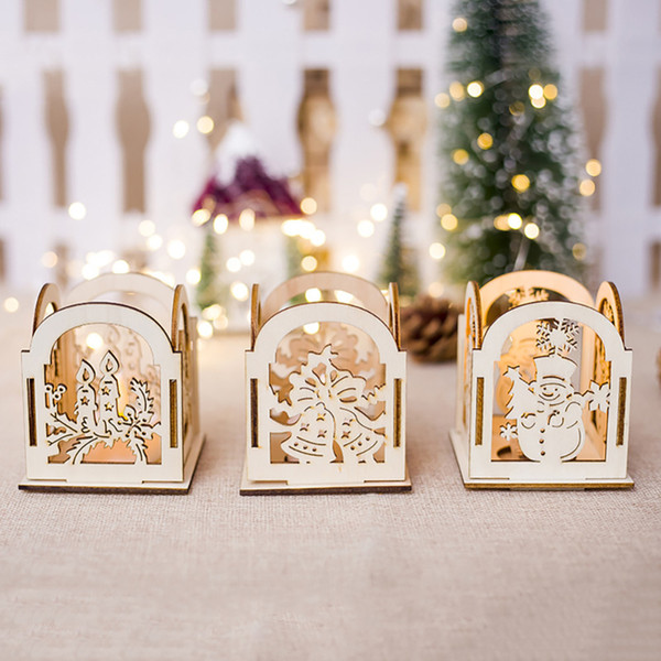 Diy Wooden Christmas Decor Candlestick Decoration Christmas Tree Hanging Ornament Christmas Home Table Candlestick Decor Y18102609 German Christmas