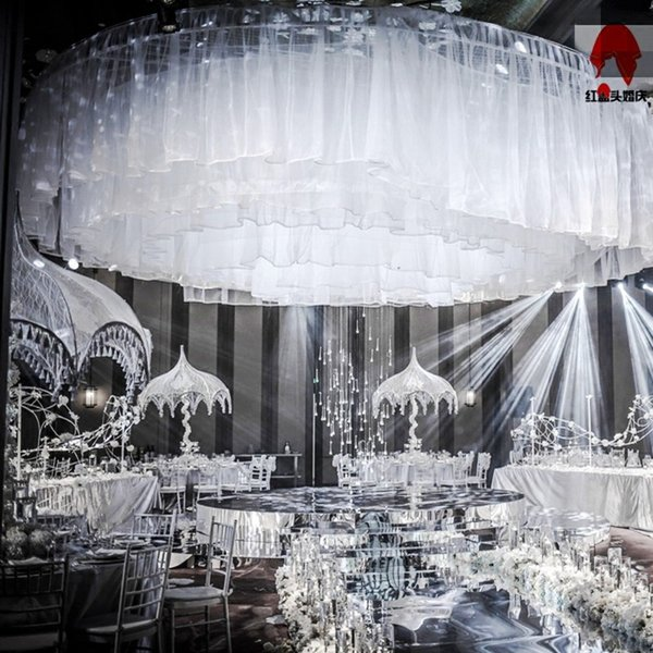 Fashion Wedding Scene Centerpieces Beauty Yarn Ceiling Decoration Wave Line Genting Sheer for Party Shooting Props