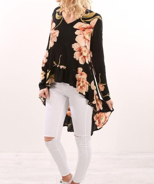 Foreverfad 2018 Hot vente de nouvelles femmes de la mode à col en V à manches longues avant court long ourlet manteau des robes de la femme élégante 090701