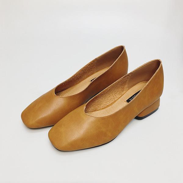 LederBlockabsatz Beiläufige Echtes Sommer Frauen Hölle Farbe Slip OnQuadratische Zehen Ferse Frühling Schuhe Großhandel Reine Und xBoeWQdrC