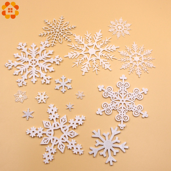 1 Pack White Plastic Fake Snowflake For Home Christmas Party DIY Scene New Year Xmas Tree Pendants Ornaments Window Decoration