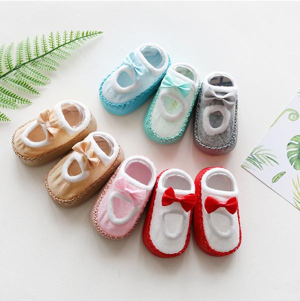 Kinder Baby Socken 3D Infant koreanischen Stil ersten Spaziergang Bogen Mädchen Mix Farbe Kleinkind Neugeborenen Kinder nette Hausschuhe neu