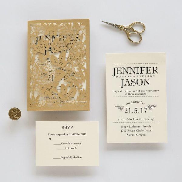 2018 Gold Laser Cut Pocket Wedding Invitation Suite, Elegant Wedding  Invitations, Free Printed Insert With Envelope Asian Wedding Invitations  Beach