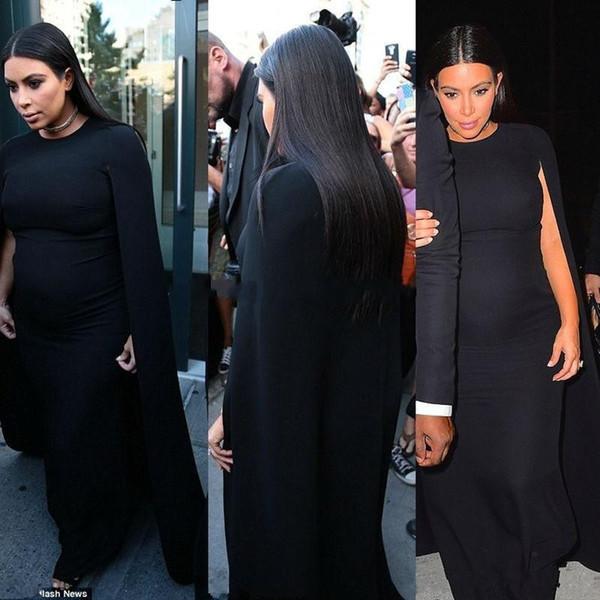 Kim Kardashian Jérsei Preto Celebridade Maternidade Vestidos de Noite Vestir para As Mulheres Grávidas prom Vestido de festa Cape Formal Vestido robe de soiree