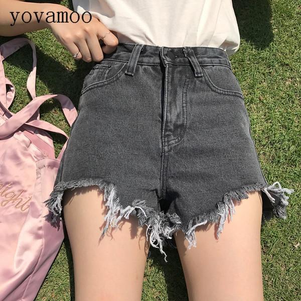 Yovamoo Denim Shorts Femme 2018 Étudiants Chic Coréen Taille Haute Droite Irrégulière Slim Jean Shorts Femmes Été Gris / Bleu