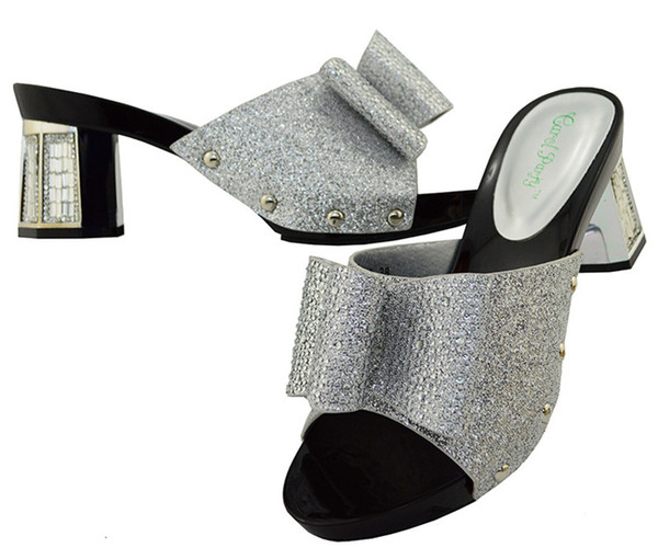 Most popular silver women shoes with rhinestone bowtie kitten heel 5.5CM african shoes for lady dressing BL004A