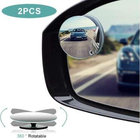 2 pz / lotto HD vetro rotondo punto cieco specchio a 360 gradi regolabile senza cornice parcheggio convesso vista posteriore specchio laterale per tutte le auto