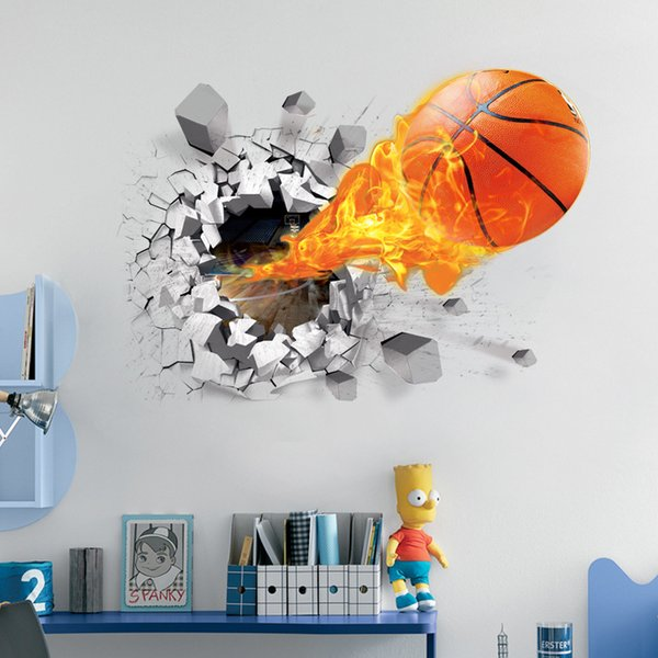 sparare a calcio attraverso adesivi murali per la decorazione della camera dei bambini casa decalcomanie divertimenti di calcio 3d murale arte sport gioco pvc poster