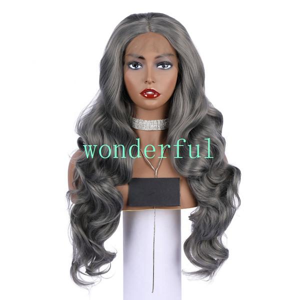 Moda Dantel Ön Peruk 18 inç ombre çikolata Gri renk büyük dalga Kıvırcık kadın saç peruk Sentetik isıya Dayanıklı saç