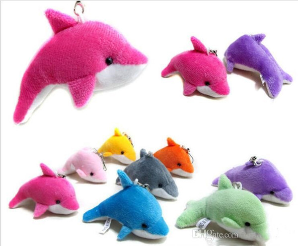best selling New Lovely Mixed Color Mini Cute Dolphin Charms Kids Plush Toys Home Party Pendant Gift Decorations Free Shipping