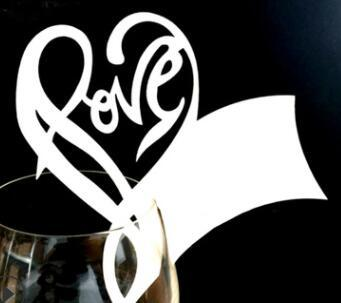 Love Heart Paper Cup Cards Wine Champagne Glass Paper Cards Name Card for Wedding Party Decoration