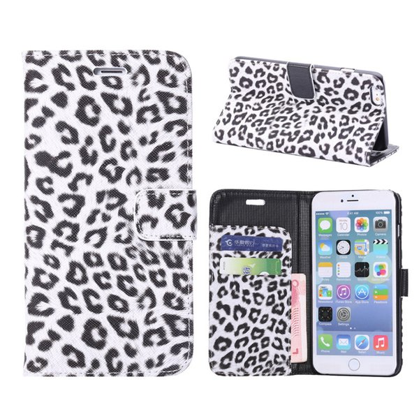 Sexy leopard print Leather Case For iPhone 7 Plus Wallet Flip stand Cover carcasas With Card Slot Phone Bags For iPhone 8 Plus