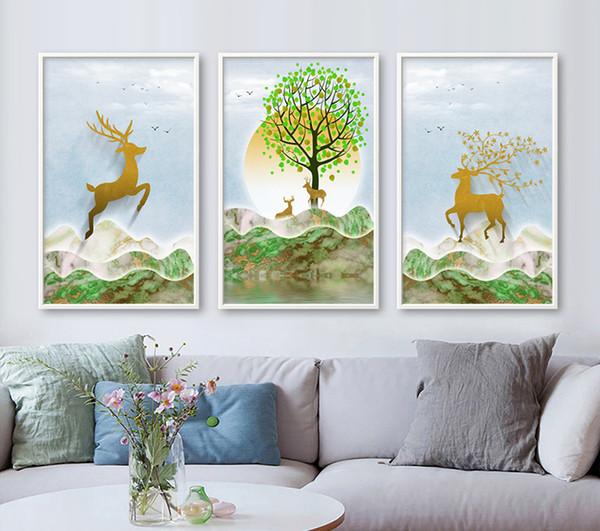 Manzara Geyik Ağacı Işık Tuval Sanat Poster Sıcak Nordic Oturma odası Duvar Sanatı Baskılar Çerçeveli Resim Ev Dekor