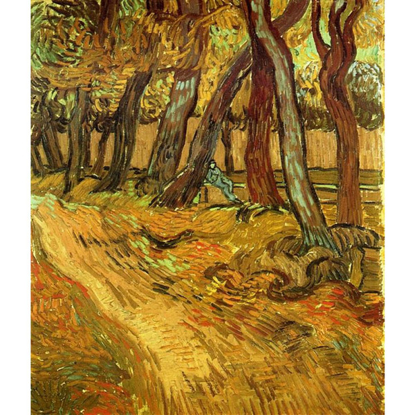 Fine art painting by Vincent Van Gogh The Garden of Saint-Paul Hospital with Figure impressionist canvas artwork for room decor