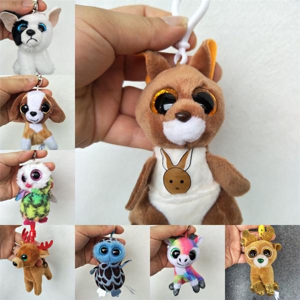 Cartoon Plus Keychain Spielzeug TY Mütze Boos Big Eye Tiere Gefüllte Puppe Anhänger Nette Tasche Auto Decor Schlüsselanhänger Geschenk Zubehör 4 5cs YY