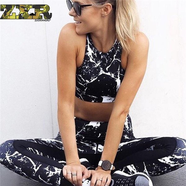 Zuoxiangru Yoga Suit Women Gym Clothes Women 3d Printing Fitness Anzug Sport Set Training Set Black Two Piece
